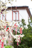 Different Bulgarian Martenitsa signs on the blossoming tree Royalty Free Stock Images