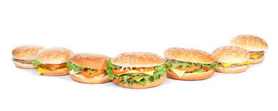 Different burgers arrangement Stock Photos