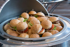 Different burgers in dish. Party set of different burgers in dish Stock Photography