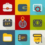 Different business icons set vintage style Royalty Free Stock Images