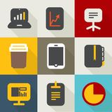 Different business icons set vintage style. Stock Photos