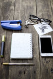 Different business objects on wooden desk. Stock Photography