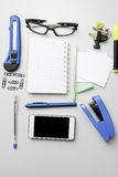 Different business objects on wooden desk. Royalty Free Stock Photos