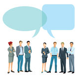 Different business opinions. Two illustrated groups of business people with different opinions with copy space Royalty Free Stock Photo