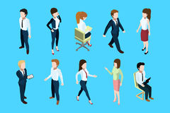 Different business peoples standing and sitting in office interior. 3d vector isometric illustration. Different business peoples standing and sitting in office Stock Photography