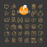 Different business strategy icons vector collection. Web and mobile app outline icons set on dark background Stock Images