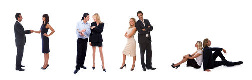 Different business teams. Different kinds of business teams of businesswomen and businessmen on white Royalty Free Stock Photos