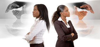 Different Business Vision. This is an image of two businesswomen with different (business) vision. This image can be used to represent Different Business Vision Stock Photography
