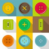 Different button icons set, flat style Stock Photography