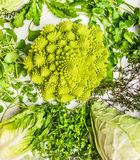 Different cabbage and green fresh herbs Royalty Free Stock Photo
