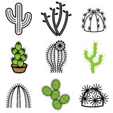 Different cactus icons Stock Photos