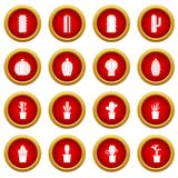 Different cactuses icon red circle set Stock Image