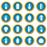 Different cactuses icons blue circle set Royalty Free Stock Photography