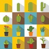 Different cactuses icons set, flat style Stock Photography