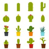Different cactuses icons set in flat style Stock Images