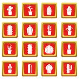 Different cactuses icons set red Royalty Free Stock Photo