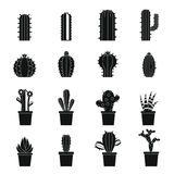 Different cactuses icons set, simple style Royalty Free Stock Photography