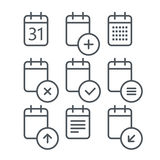 Different calendar icons set with rounded corners Royalty Free Stock Photography