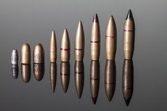 Different caliber bullets Aligned Stock Photos
