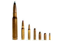 Different caliber bullets, on a white background. Different caliber bullets Aligned, on a white background Stock Photography