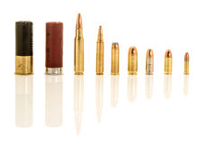 Different calibers of bullets. Stock Image