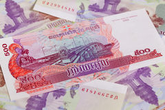 Different Cambodia Riels banknotes Stock Images