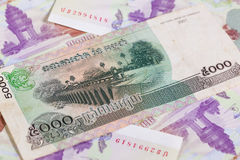 Different Cambodia Riels banknotes Stock Photos