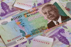 Different Cambodia Riels banknotes Royalty Free Stock Images