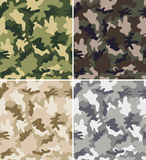 Different Camouflage Seamless Patterns. Set - Forest, Jungle, Urban and Desert Stock Photography