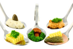 Different Canapes. Royalty Free Stock Photos