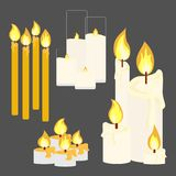 Different candle with fire. Animation big set. Vector illustration Stock Photography