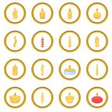 Different candle icons circle Royalty Free Stock Images