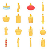 Different candle icons set, cartoon style Royalty Free Stock Photography