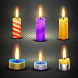 Different candles with flame vector set  on checkered transparent backdrop. Different candles with flame for birthday and christmas holiday. Vector set  on Royalty Free Stock Image