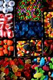 Different candy - frogs, bears, worms, pumpkins, eyes, seeds in the glaze, jaws, pumpkins for Halloween. Food stock photo