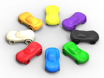 Different car colors to choose. 3D render illustration of the concept of picking a different car color. The composition is  on a white background with shadows Royalty Free Stock Photography