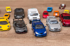 Different car toys. Overhead view of different car toys stock images