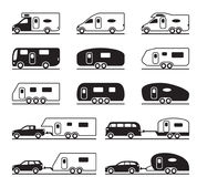 Different caravans and campers Royalty Free Stock Image