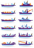 Different cargo ships icons set Stock Image