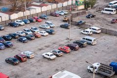 Different cars on a parking near the residential building royalty free stock photo