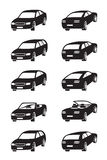 Different cars in perspective. Vector illustration Stock Photo