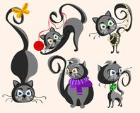 Different cartoon cats collection stock photo