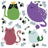 Different cartoon cats set. seamless background doodle Royalty Free Stock Photography