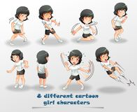 8 different cartoon girl characters. vector illustration