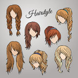 Different cartoon hairstyles Stock Photo