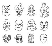 Different cartoon mask and face costumes set Royalty Free Stock Photos