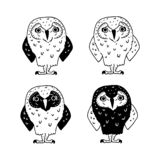 Different cartoon owls on white background. Set of black and white doodle birds vector illustration