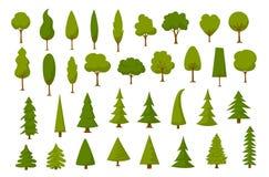 Different cartoon park forest pine fir trees set. Different cartoon park forest pine fir trees Stock Images