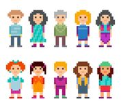 Different cartoon pixel 8-bit characters. Different pixel 8-bit characters. Men and women standing on white background. Vector illustration Royalty Free Stock Photo
