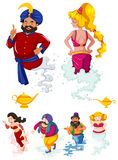 Different characters of ginnies and the lamp Royalty Free Stock Photography